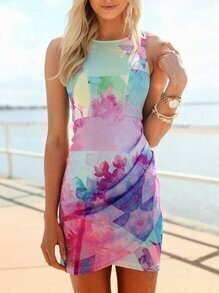 Muiticolour Sleeveless Floral Print Dress