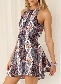 Multicolour Spaghetti Strap Halterneck Tribal Print Dress