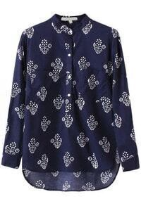 Navy Stand Collar Floral Dip Hem Blouse
