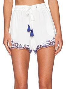 White Tie-Waist Hollow Shorts