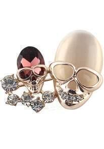 Gold Diamond Skull Brooches