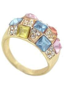 Multicolor Diamond Gold Ring