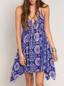 Blue Spaghetti Strap Backless Tradition Vintage Print Dress