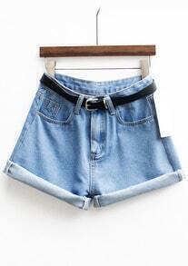 With Belt Cuffed Denim Shorts