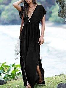 Black Sateen Cap Sleeve Deep V Neck Backless Split Maxi Dress