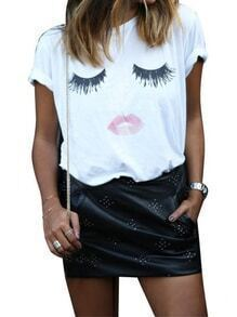 White Short Sleeve Eyelash Lip Print T-Shirt