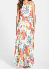 Multicolor Sleeveless Floral Pleated Ball Maxi Dress