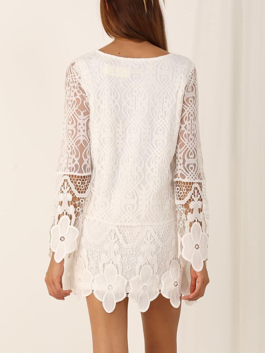 Long sleeve white crochet dress