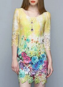 Yellow Soluble Flowers Lace Dress