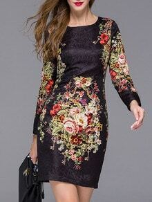 Black Round Neck Long Sleeve Jacquard Floral Print Dress