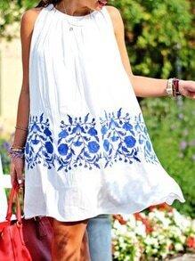 White Sleeveless Vintage Print Dress
