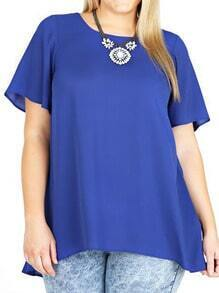 Blue Dip Hem Short Sleeve Plus Top