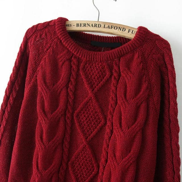 Cable Knit Loose Wine Red Sweater EmmaCloth-Women Fast Fashion Online