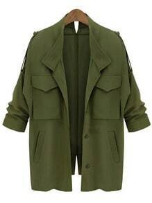 Army Green Epaulet Pockets Loose Coat
