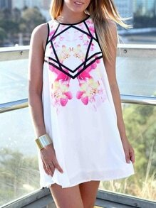 Whites Sleeveless Flowery Petals Floral Sundress Print Dress