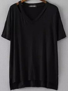 V Neck Dip Hem Hollow Black T-shirt