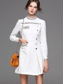Long Sleeve Bead Buttons Rhinestone A-Line Dress