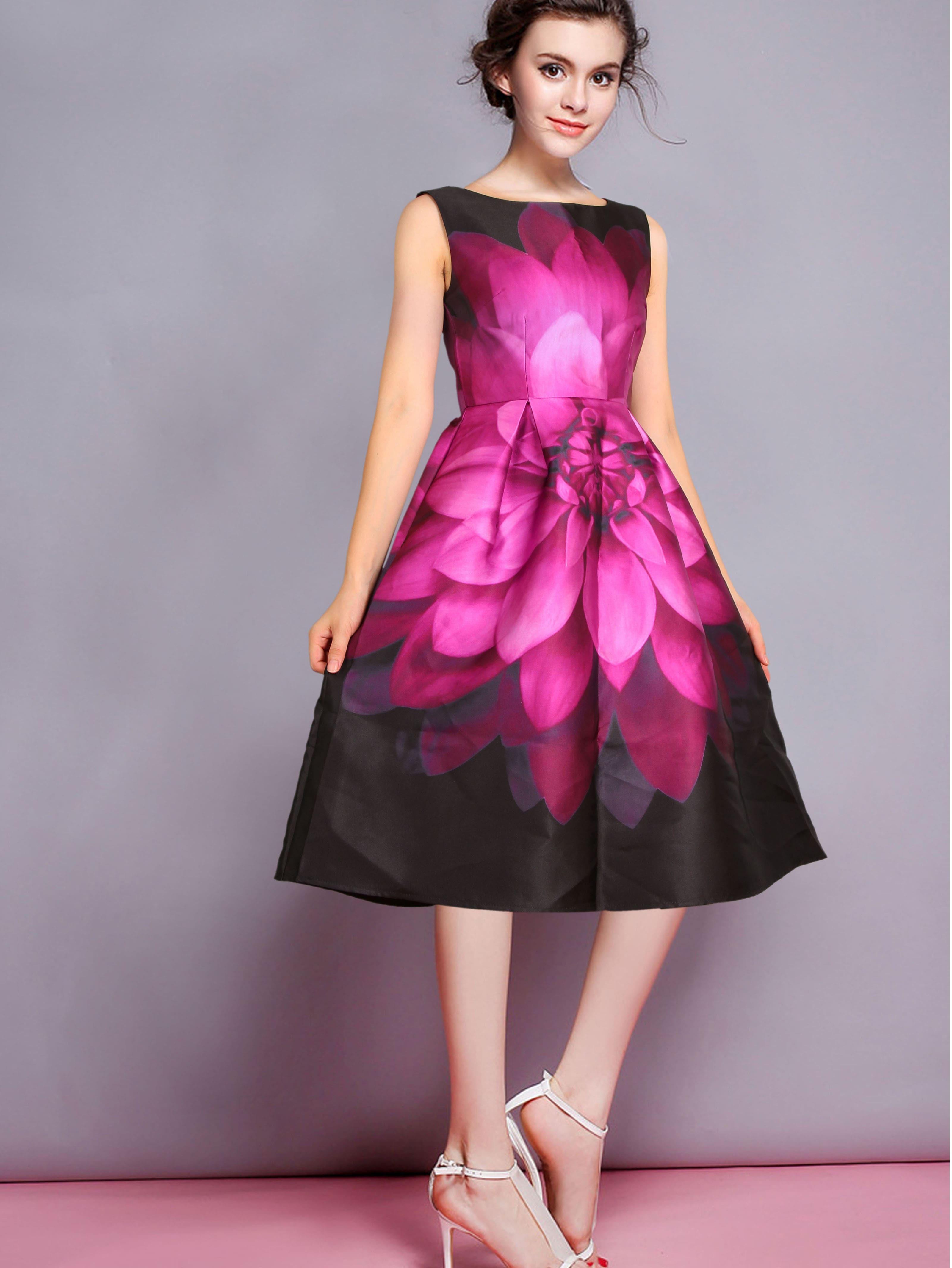Sleeveless Florals Patterned Flare Frocks Dress EmmaCloth-Women Fast ...