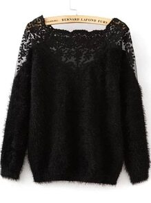 Lace Paneled Mohair Black Sweater