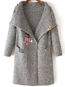 Grey Lapel Embroidered Pockets Knit Sweater