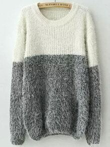 White Grey Round Neck Shaggy Knit Sweater