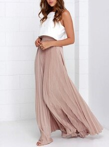 Pink Pleated Maxi Skirt EmmaCloth-Women Fast Fashion Online
