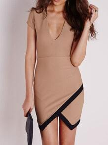 Khaki Pima Sateen Deep V Neck Asymmetrical Dress