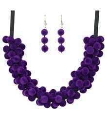 Purple Velvet Beads Jewelry Set
