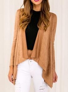 Khaki Drape Front Asymmetrical Coat