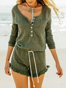 Army Green Long Sleeve Lace Up Playsuit