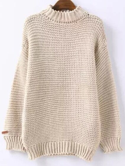 High Neck Chunky Knit Beige Sweater EmmaCloth-Women Fast Fashion ...