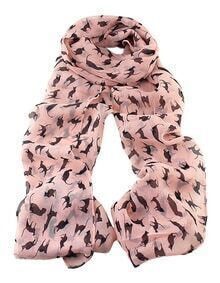 Latest Design Pink Chiffon Knitted Leopard Printed Fashionable Scarf