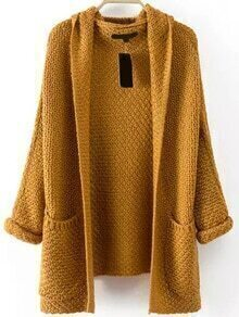 Pockets Chunky Knit Khaki Coat