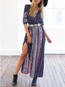 Navy Half Sleeve Vintage Print Split Maxi Dress