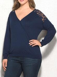Blue V Neck Long Sleeve Lace Paneled Plus T-shirt