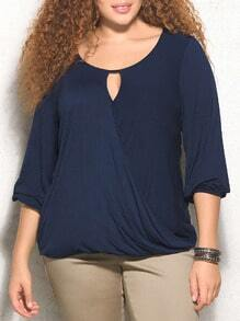 Navy Round Neck Keyhole Wraped Plus Blouse