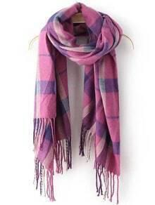 Purple Plaid Tassel Classical Scarve