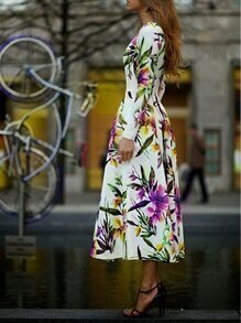 Muiticolour Long Sleeve Flowery Floral Pastel Dress