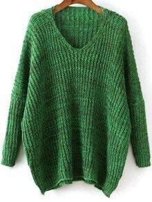 V Neck Dolman Green Sweater