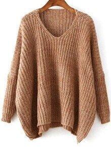 V Neck Dolman Brown Sweater