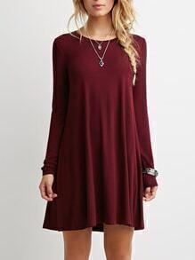 Burgundy Long Sleeve Casual Babydoll Dress