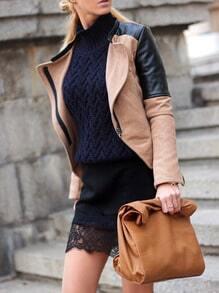 Black Camel Long Sleeve Color Block Jacket