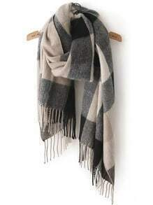 Black Grey Plaid Tassel Classical Scarf