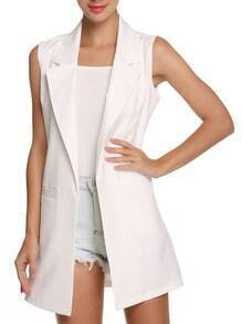 White Notch Lapel Sleeveless Fitted Blazer