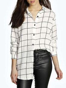 White Long Sleeve Plaid Oversized Blouse