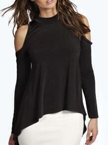 Black High Neck Dip Hem Cutout Shoulder T-shirt