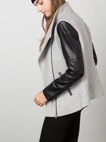 Grey Zipper Color Block Jacket
