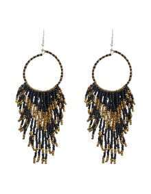 Black Long Drop Beads Earrings