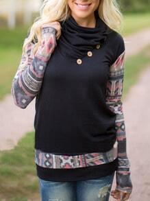 Black Draped Neck Geometric Print Buttons T-Shirt