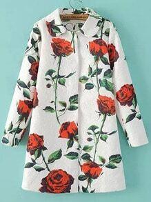 Multicolor Lapel Rose Print Jacquard Coat